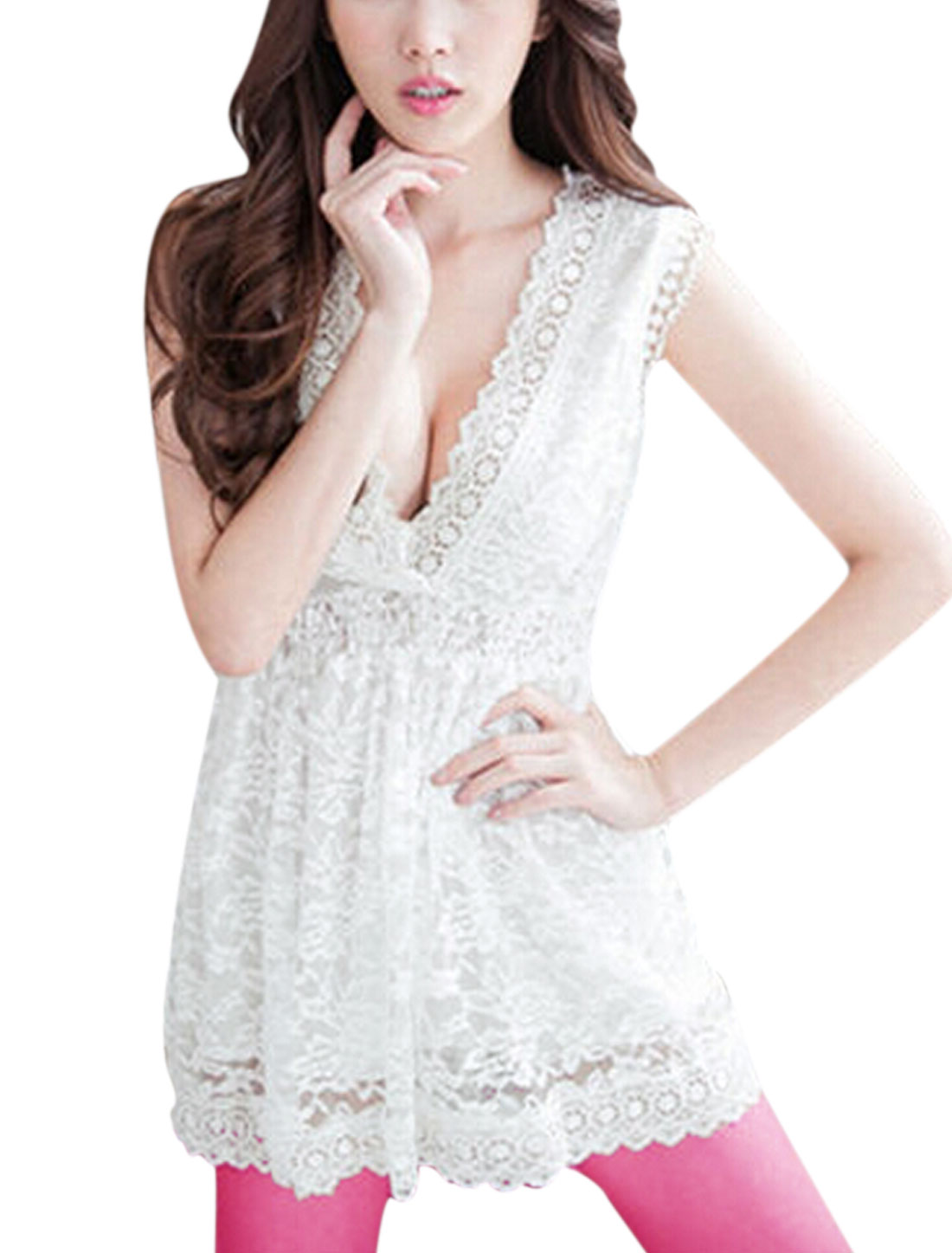 Women Sleeveless Crossover V Neck Casual Lace Top White S