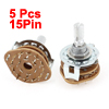 5 x Rotary Switch Potentiometer 2Pole 6Position 15Pin
