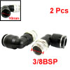 2Pcs 3/8BSP Male to 10mm Air Pneumatic Elbow Quick Connect Connectors
