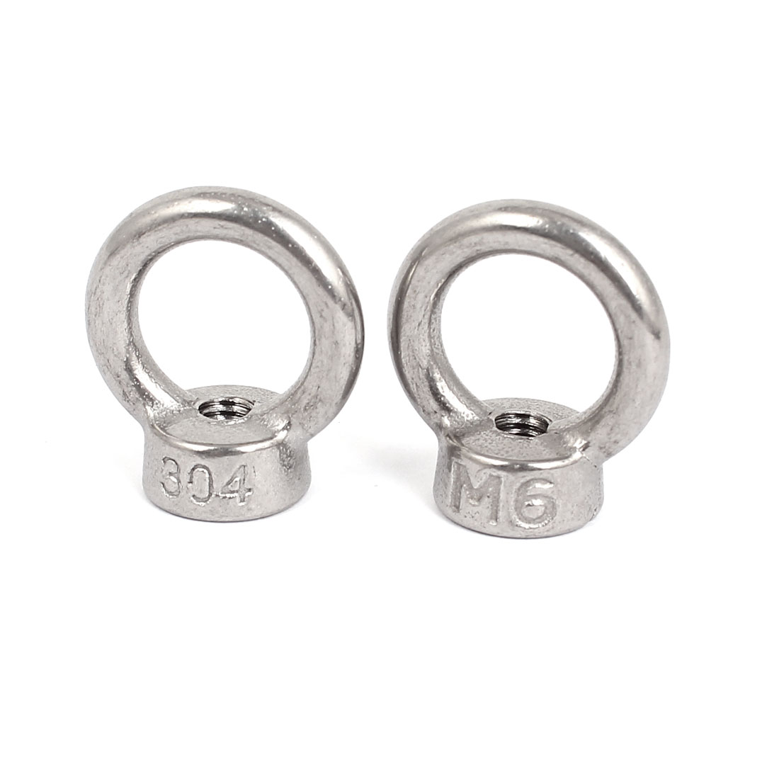 M6 Thread Dia 304 Stainless Steel Round Lifting Eye Nuts Ring Silver Tone 2Pcs