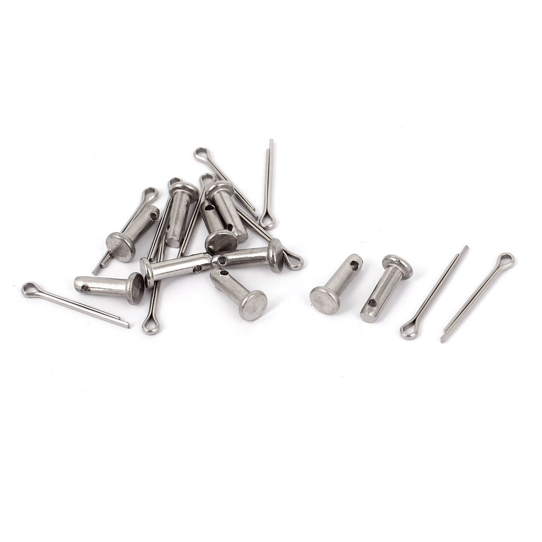 M3 x 10mm Flat Head 304 Stainless Steel Round Clevis Pins Fastener 10Pcs