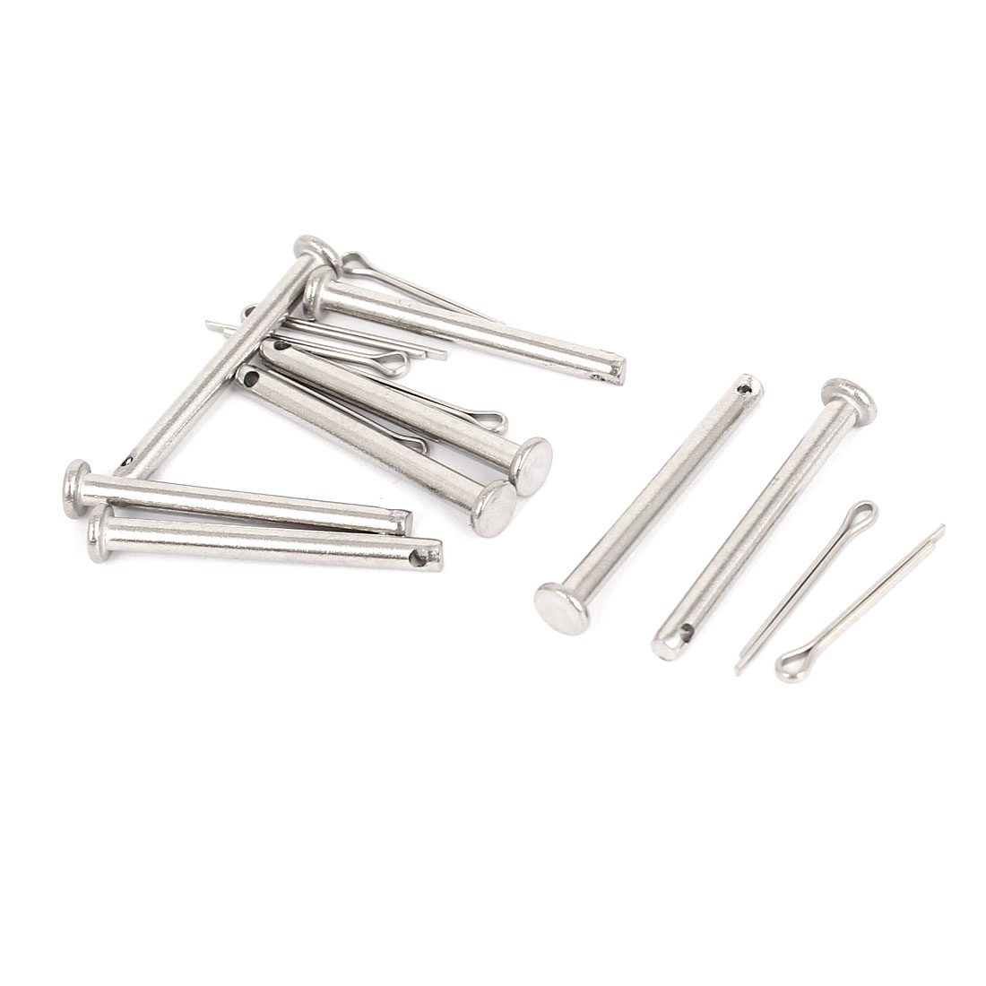 M3 x 30mm Flat Head 304 Stainless Steel Round Clevis Pins Fastener 8Sets