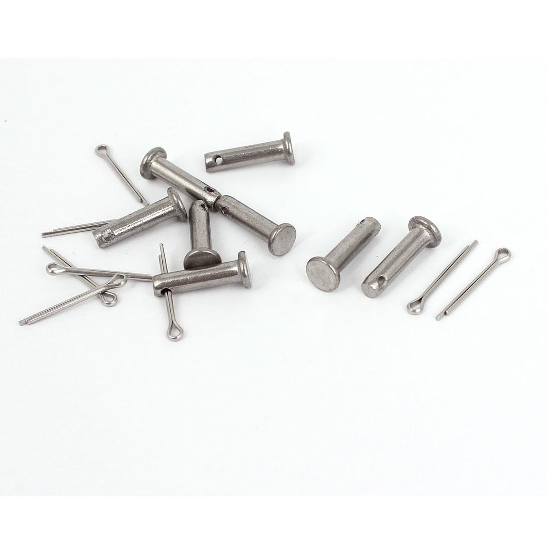 M4 x 16mm Flat Head 304 Stainless Steel Round Clevis Pins Fastener 8 Sets