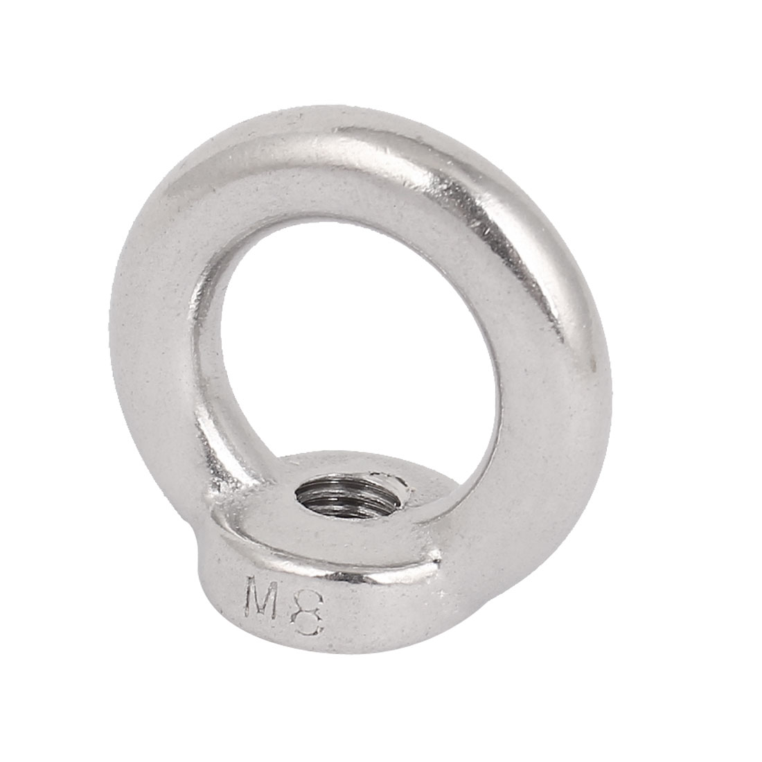 M8 Thread Dia 304 Stainless Steel Round Lifting Eye Nuts Ring Silver Tone