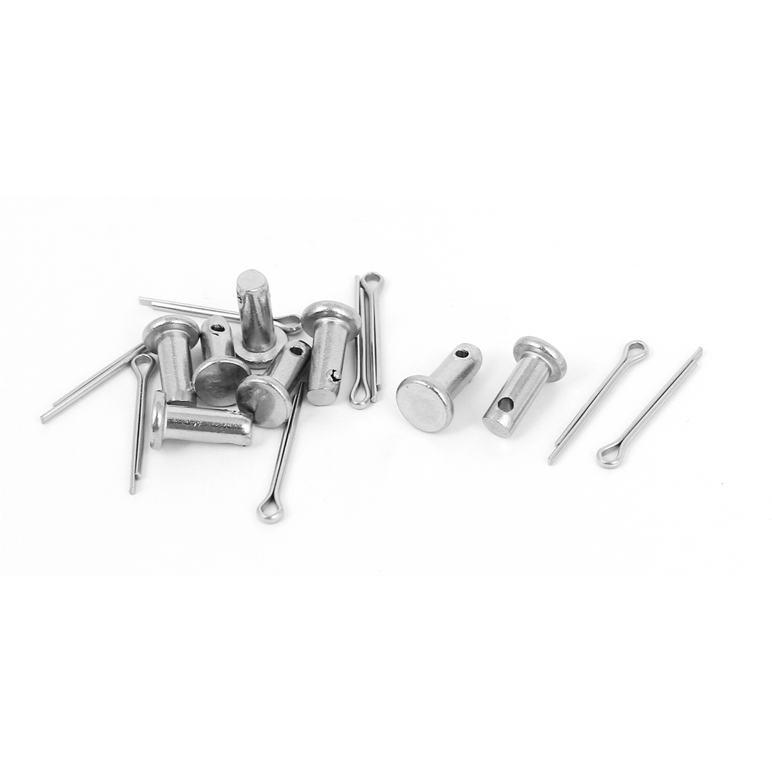 M4 x 10mm Flat Head 304 Stainless Steel Round Clevis Pins Fastener 8sets