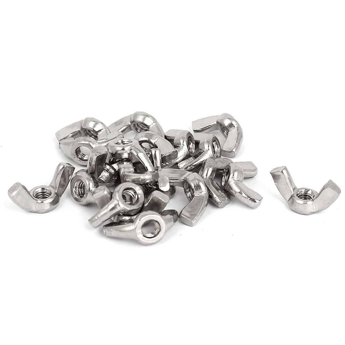 M4 Thread Dia Stainless Steel Wingnut Butterfly Wing Nuts Silver Tone 20Pcs