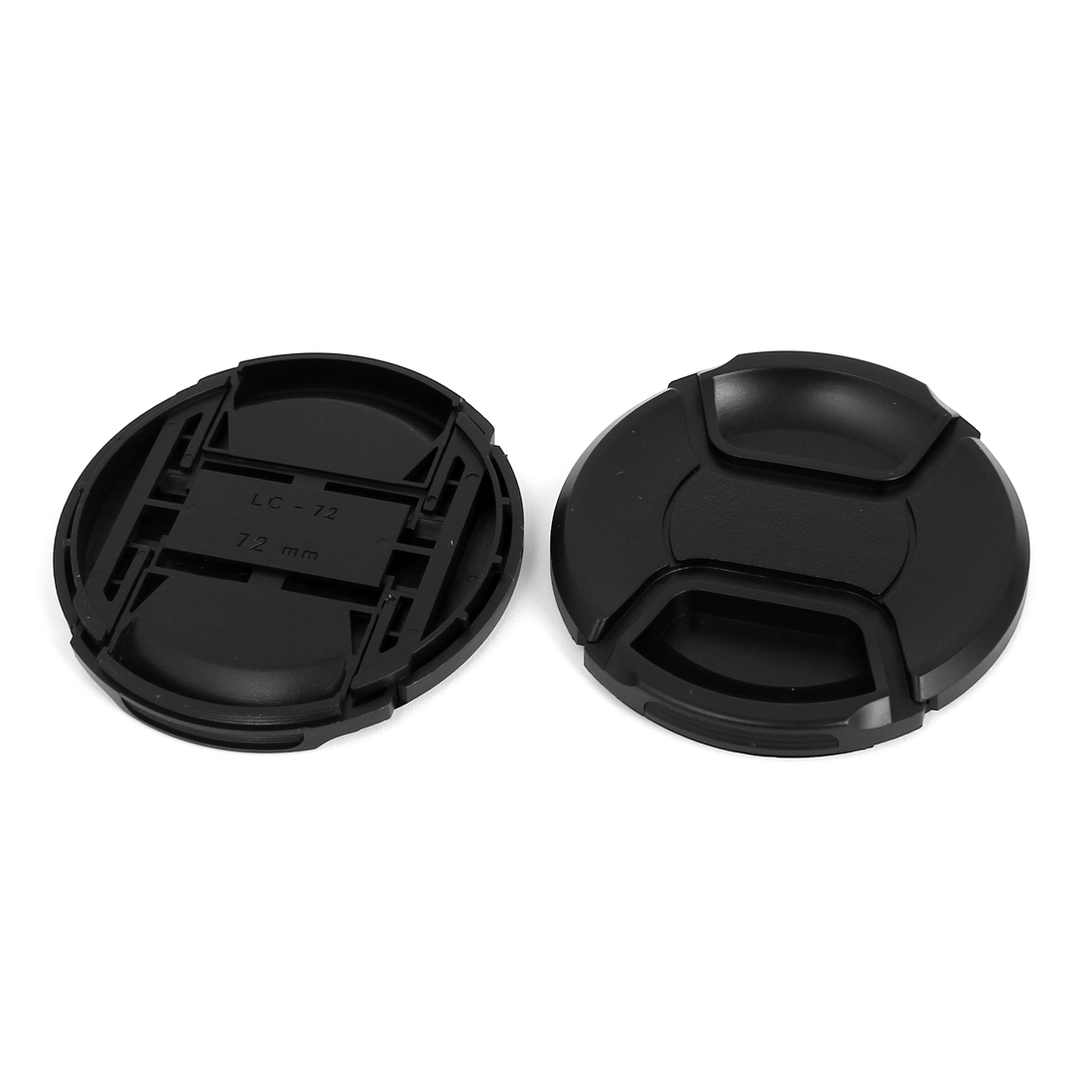 72mm Dia Plastic Front Snap Digital Camera Lens Caps Cover Protector Black 2Pcs