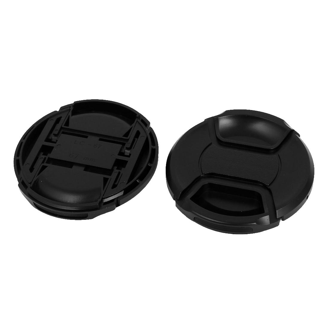 67mm Dia Plastic Front Snap Digital Camera Lens Caps Cover Protector Black 2Pcs