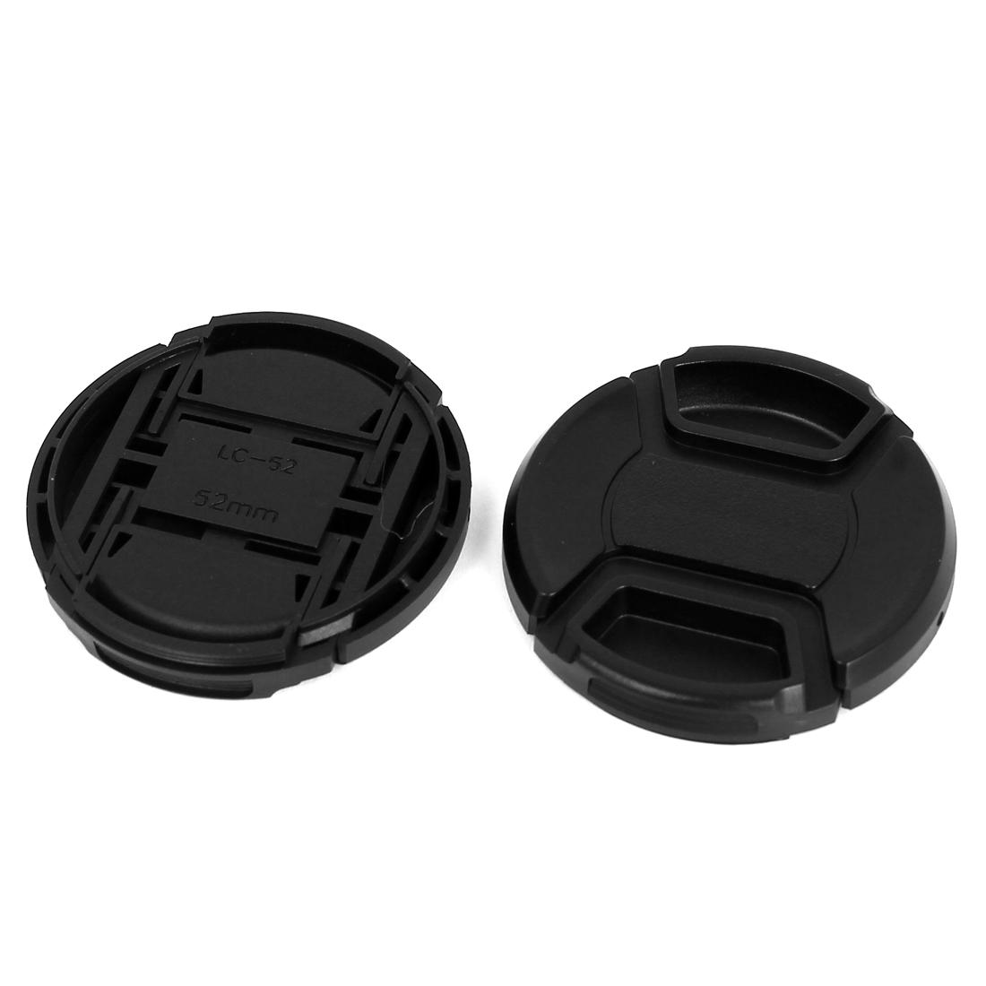 52mm Dia Plastic Front Snap Digital Camera Lens Caps Cover Protector Black 2Pcs
