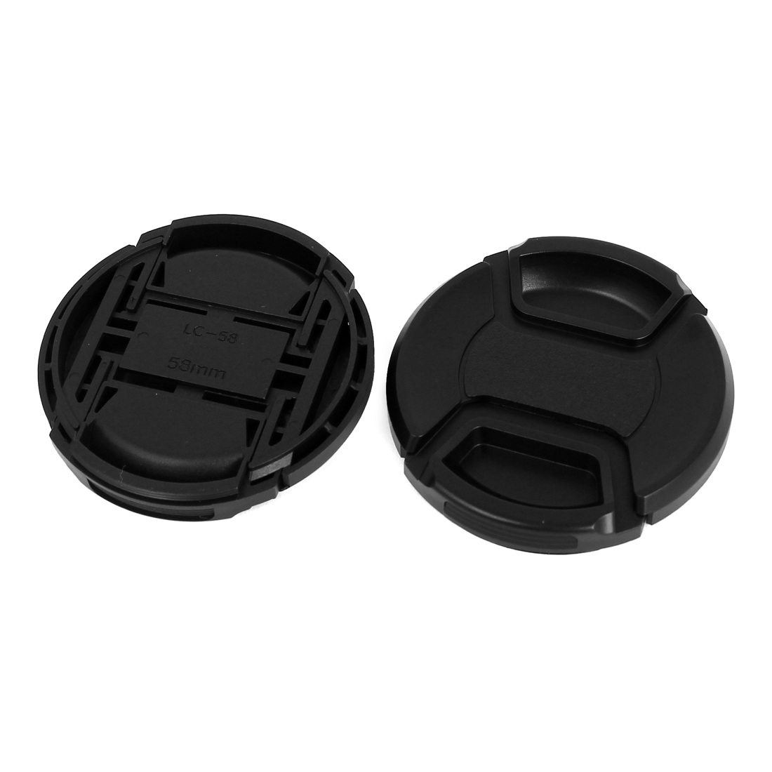 58mm Dia Plastic Front Snap Digital Camera Lens Caps Cover Protector Black 2Pcs
