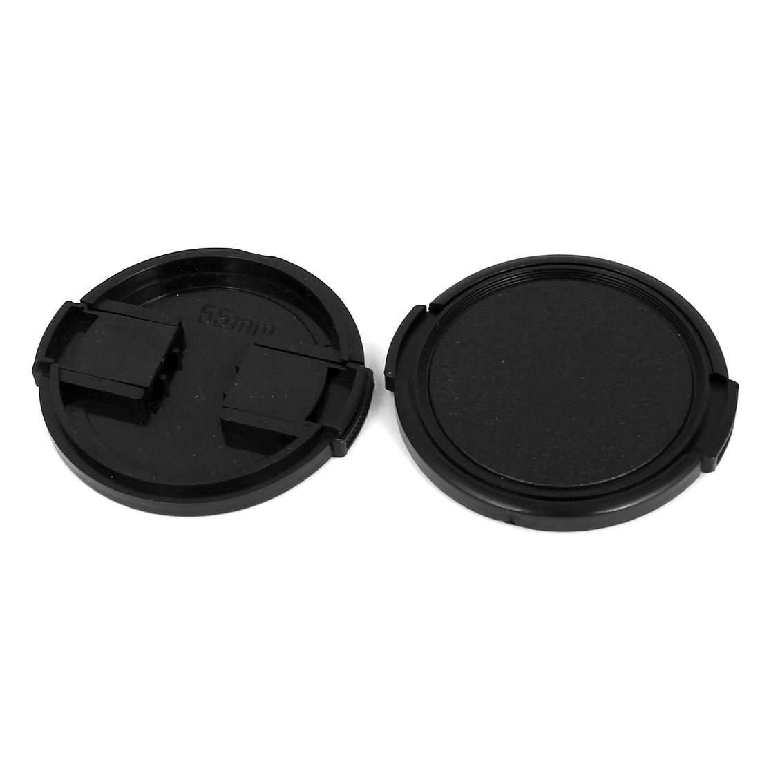 55mm Dia Vintage Style Plastic Front Snap Digital Camera Lens Cap Protector 2Pcs