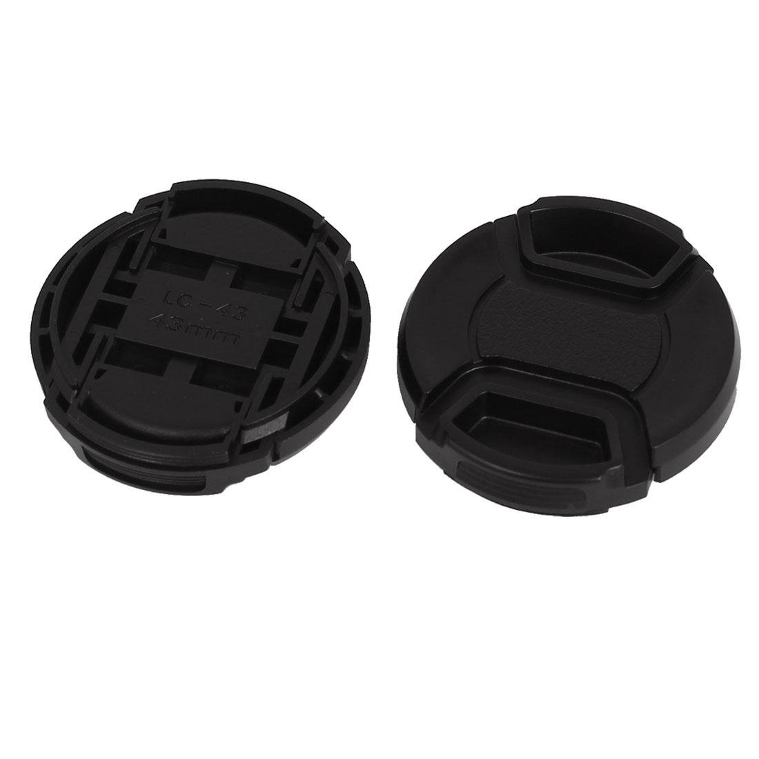 43mm Dia Plastic Front Snap Digita Camera Lens Caps Cover Protector Black 2Pcs