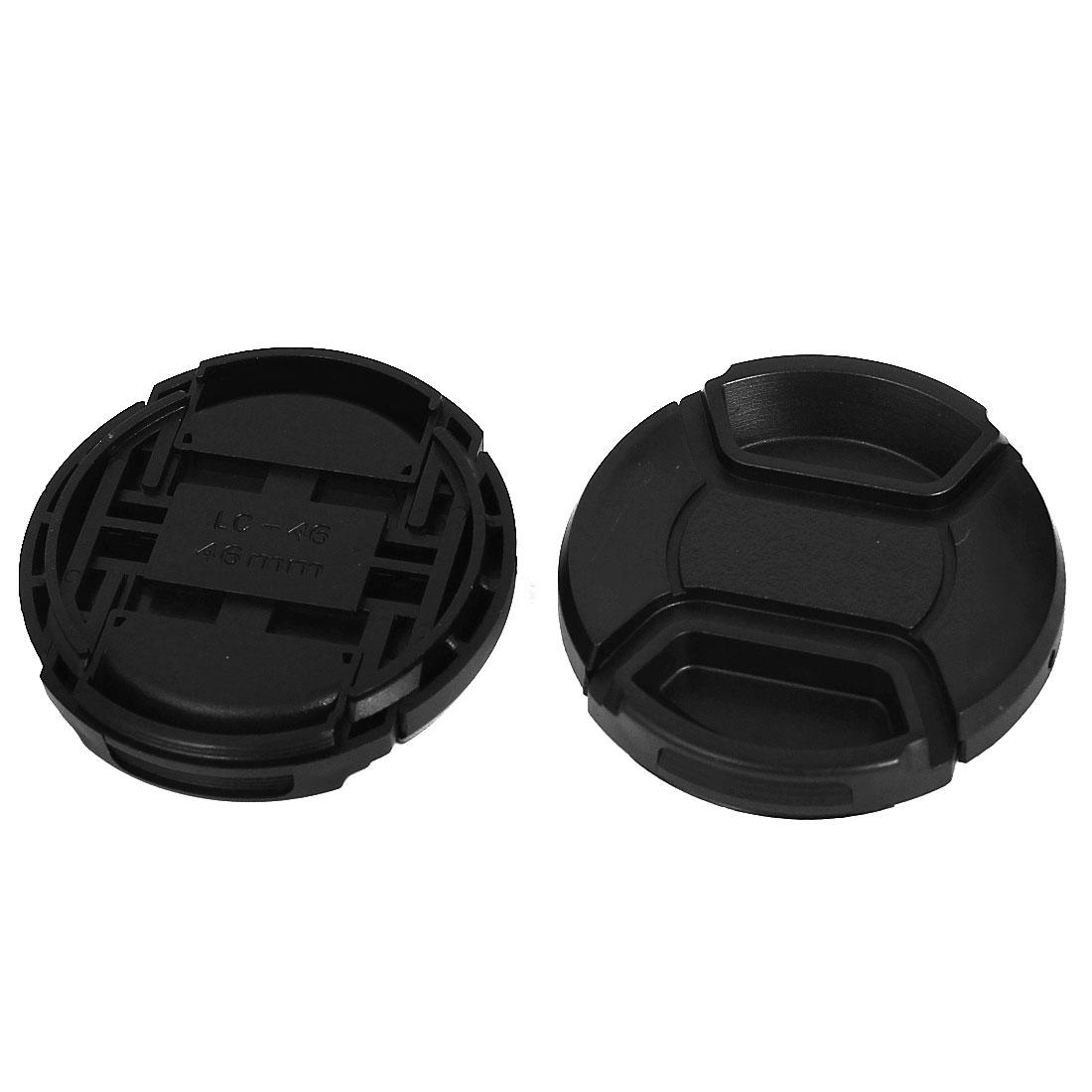 46mm Dia Plastic Front Snap Digital Camera Lens Caps Cover Protector Black 2Pcs