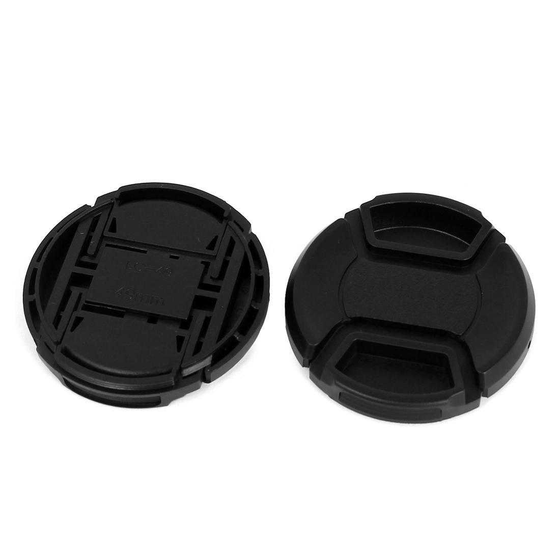 49mm Dia Plastic Front Snap Digital Camera Lens Caps Cover Protector Black 2Pcs