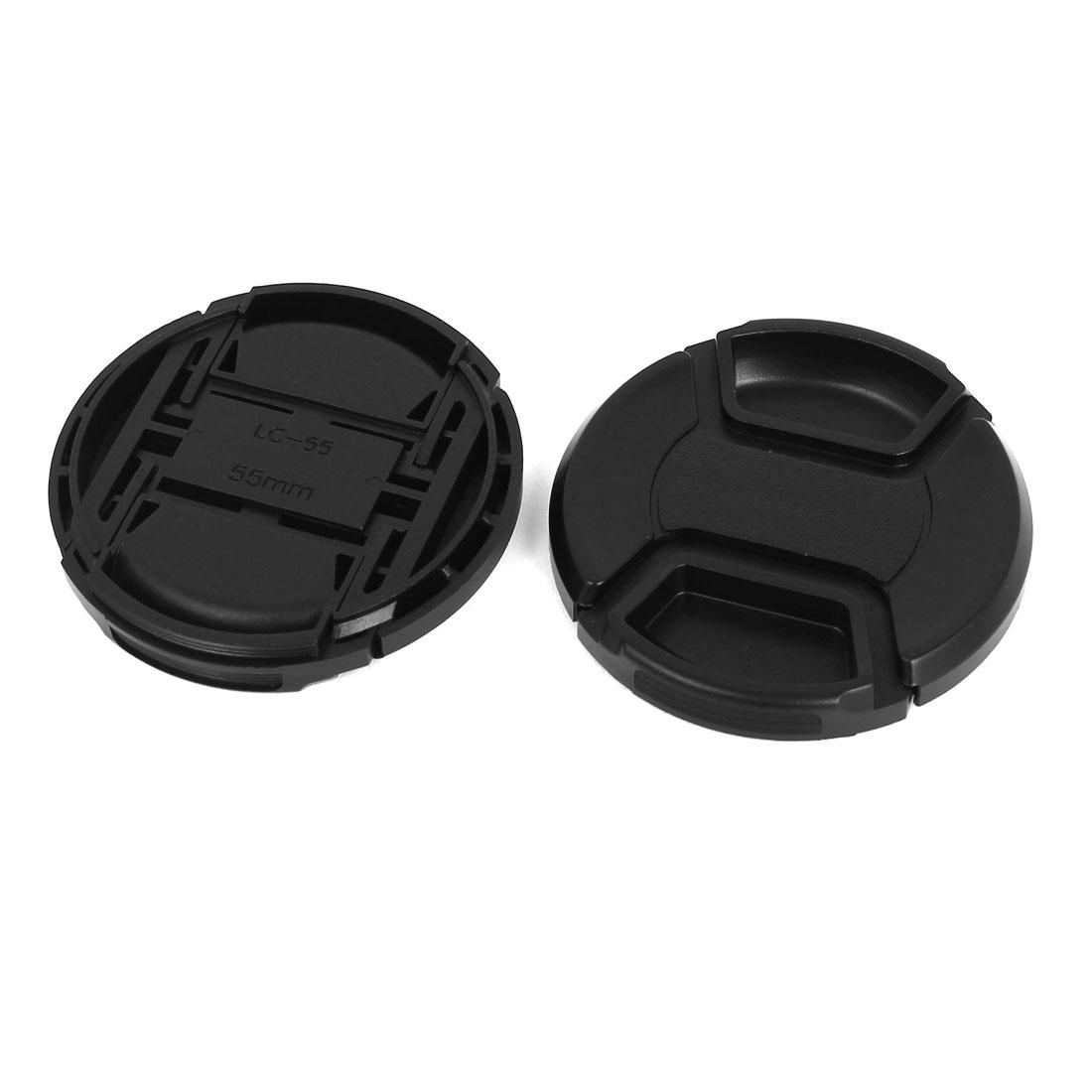 55mm Dia Plastic Front Snap Digital Camera Lens Caps Cover Protector Black 2Pcs