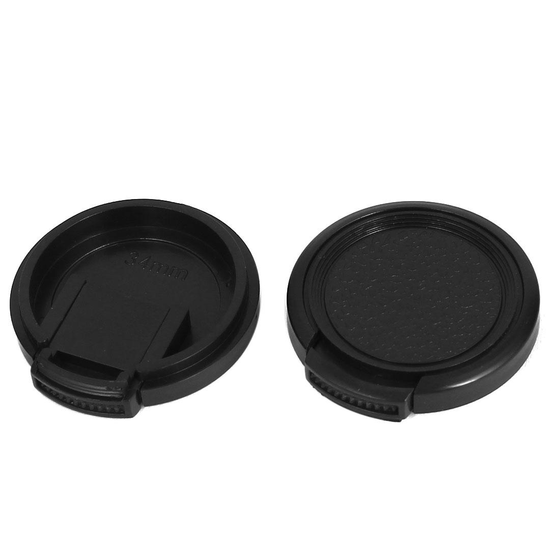 34mm Dia Vintage Style Plastic Front Snap Digital Camera Lens Cap Protector 2Pcs
