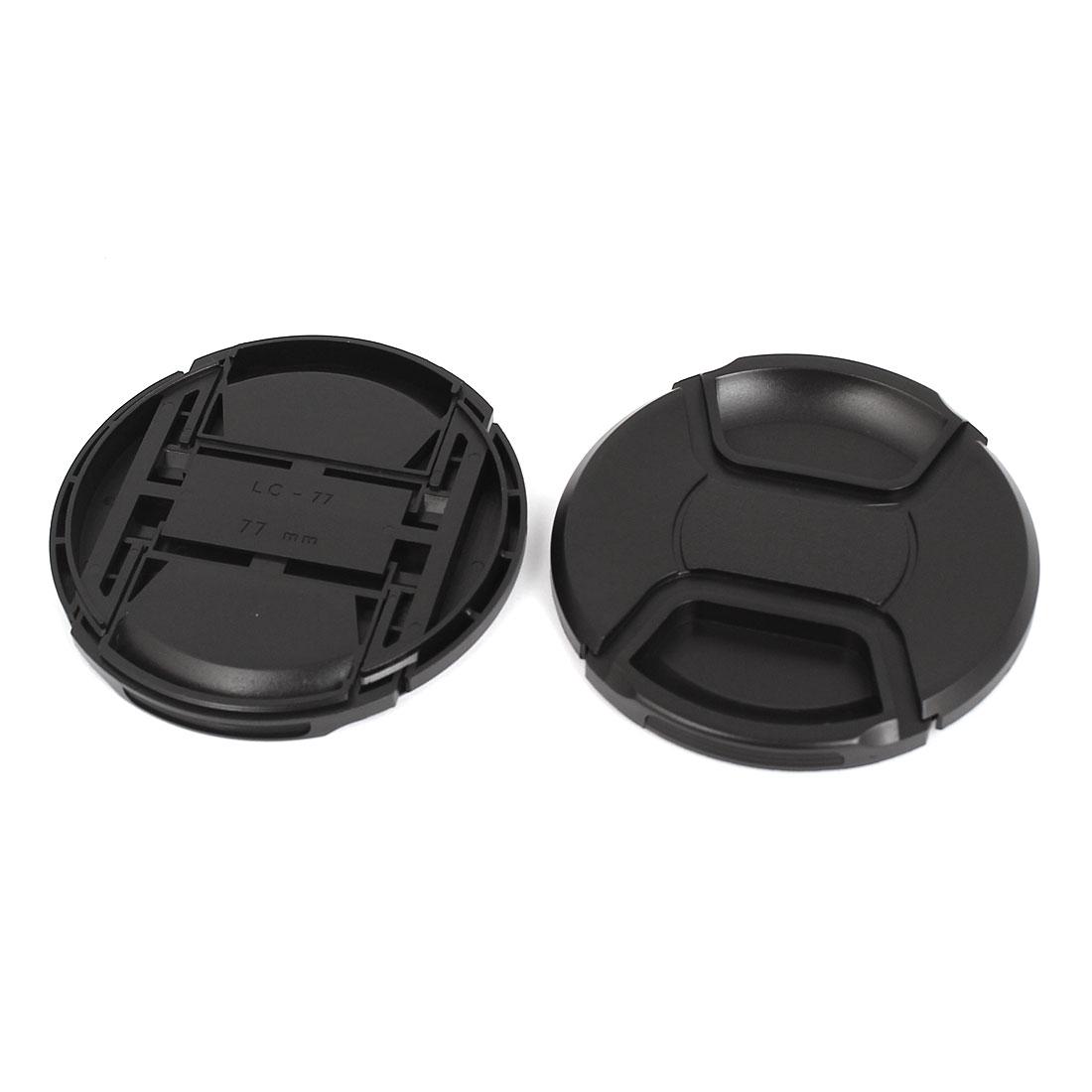 77mm Dia Plastic Front Snap Digital Camera Lens Caps Cover Protector Black 2Pcs