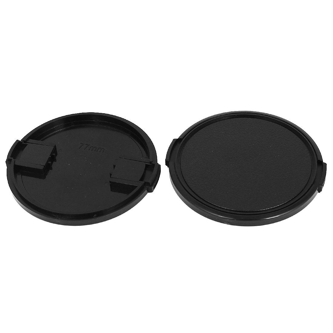 77mm Dia Vintage Style Plastic Front Snap Digital Camera Lens Cap Protector 2Pcs
