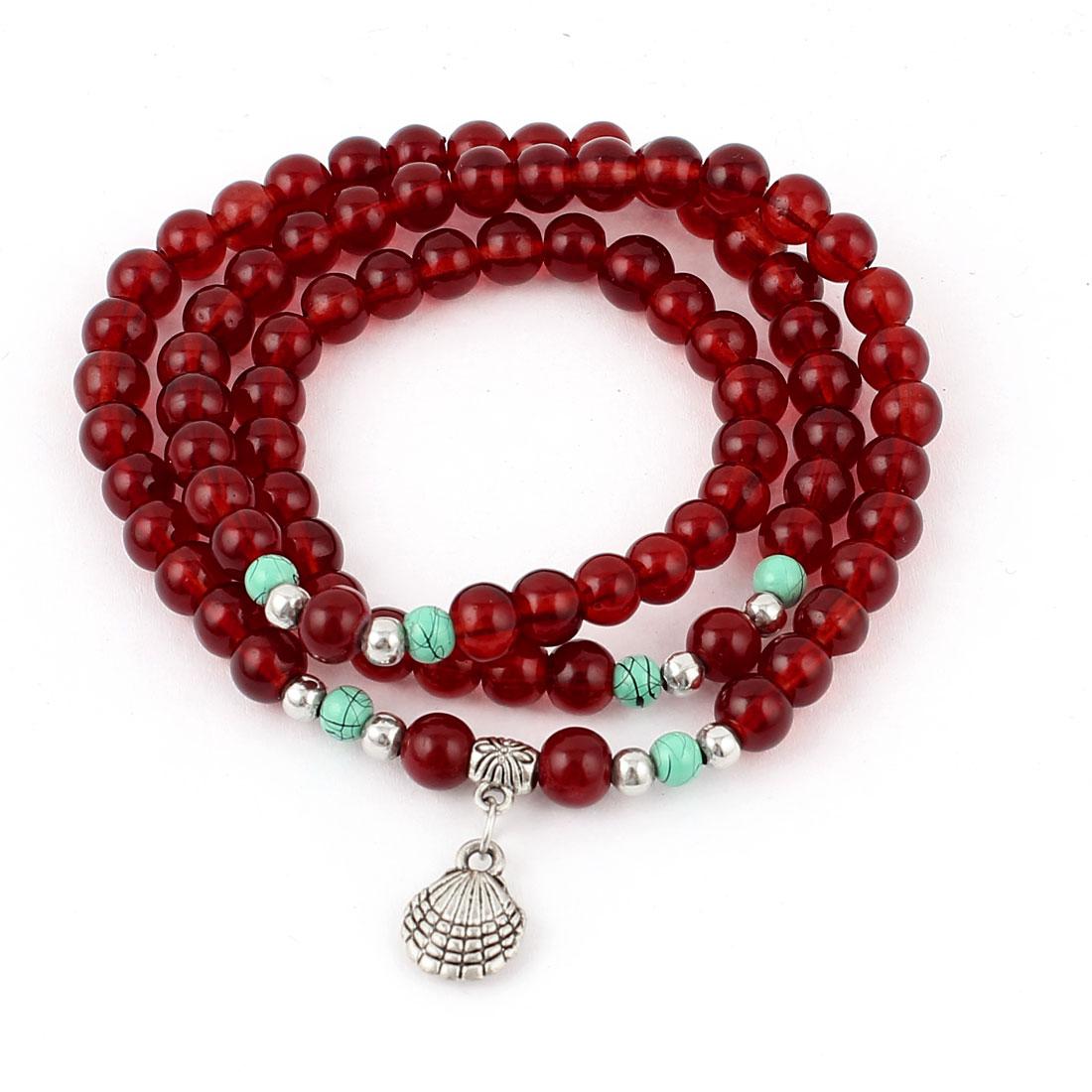 Women Seashell Pendant Decor Plastic Crystal Beads Linked Bracelet Necklace Carmine