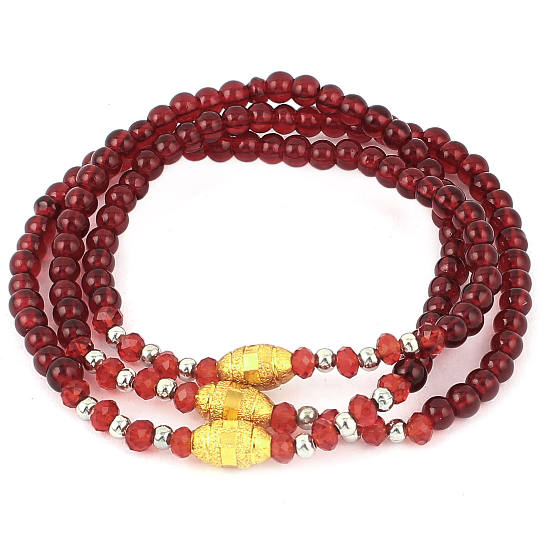 Women Oval Metal Decor Plastic Crystal Beads Linked Bracelet Bangle Carmine