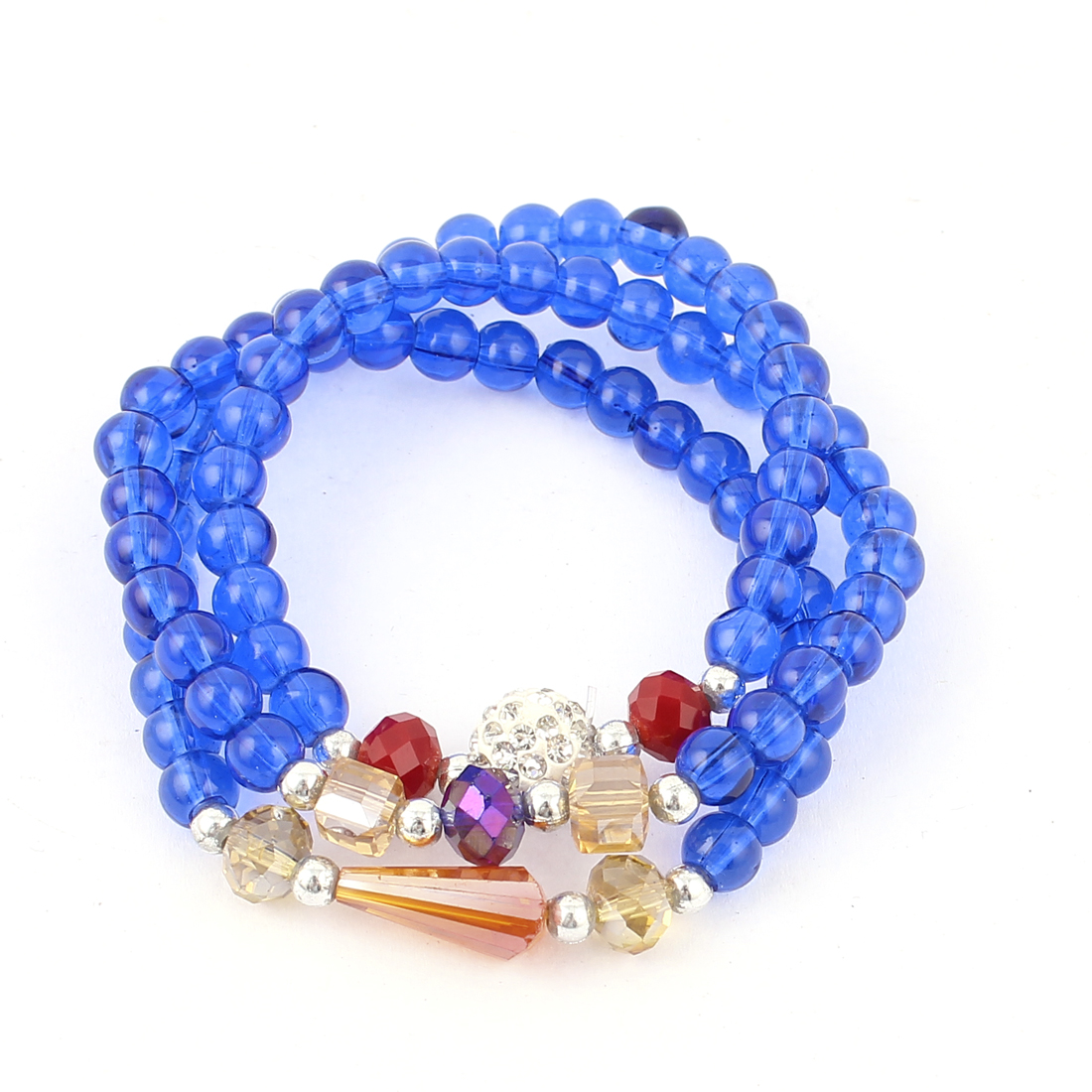 Women Elastic String Plastic Round Cubic Beads Bracelet Necklace Royal Blue