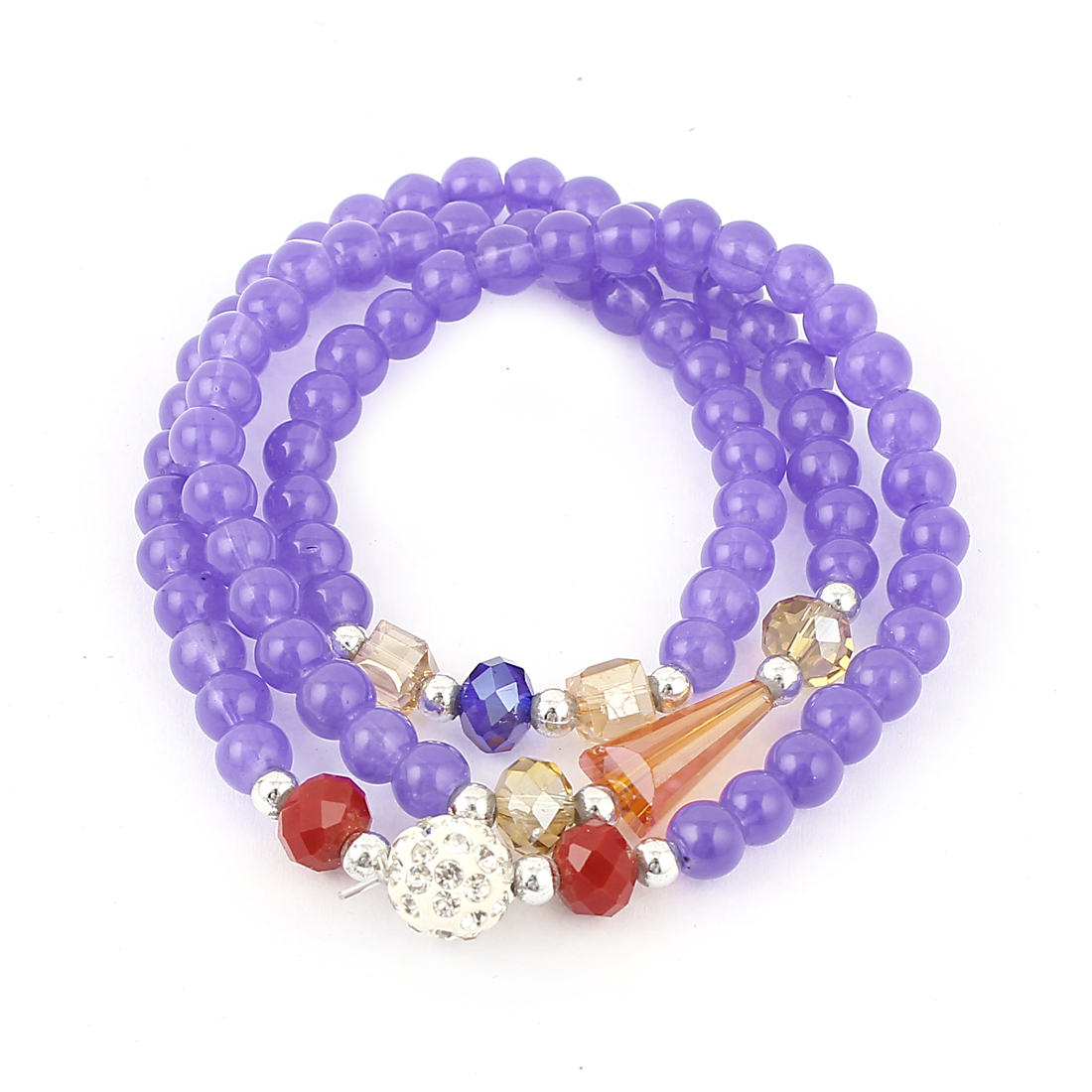 Women Elastic String Plastic Round Cubic Beads Bracelet Necklace Purple