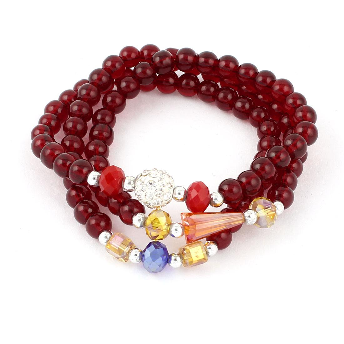 Lady Plastic Crystal Decor Bead Linked Necklace Bracelet Carmine