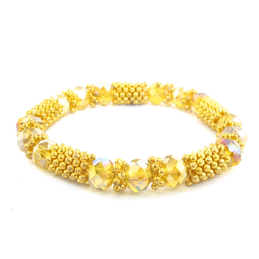 Yellow Snowflake Connection Faux Beaded Wrist Bangle Stretchy for Women Bracelet