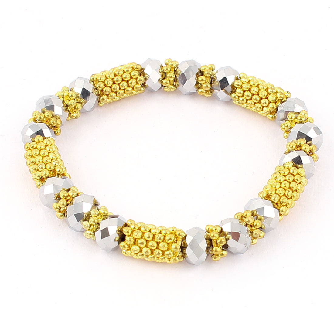 Women Metal Decor Plastic Crystal Beads Linked Bracelet Yellow Silver Tone