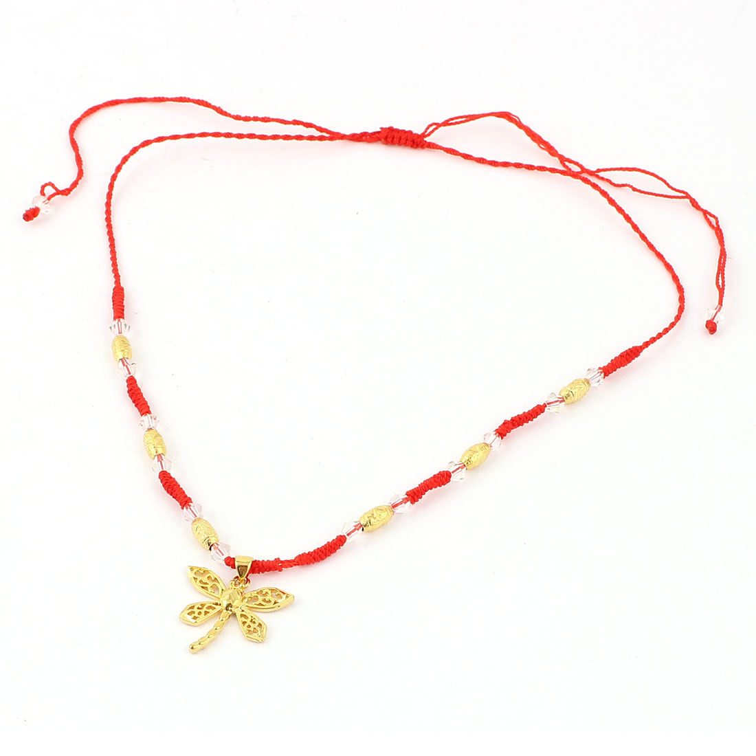 Butterfly Pendant Beads Decor Red Knitted Drawstring Bracelet Necklace Yellow