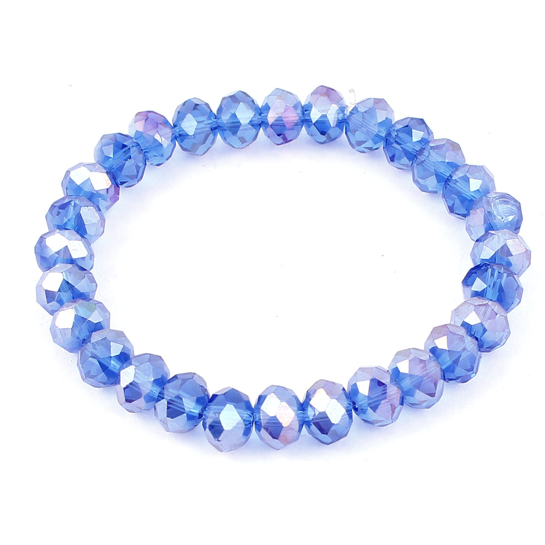 Blue Faceted Faux Crystal Stretchy Wrist Bracelet Bangle for Women
