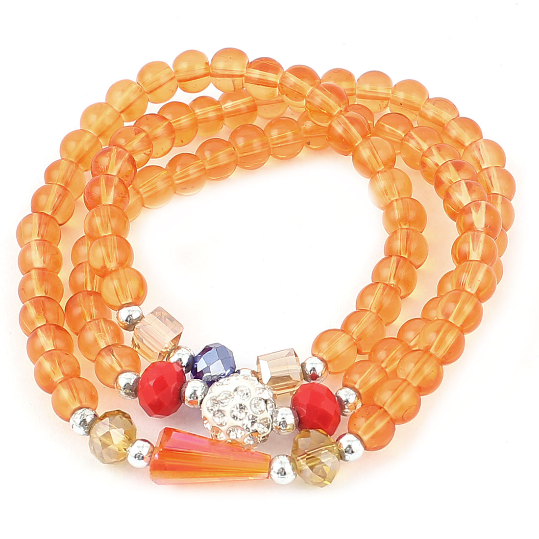 Orange Plastic Beads Stretchy Necklace Ring Bracelet for Girls