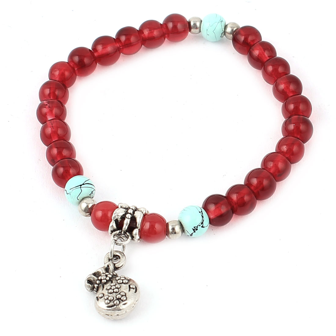 Women Wallet Pendant Decor Plastic Crystal Beads Linked Bracelet Carmine