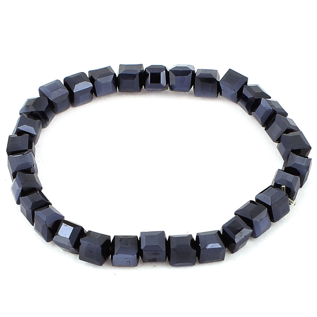 Women Plastic Multilateral Beads Linked Bracelet Bangle Oranment Black
