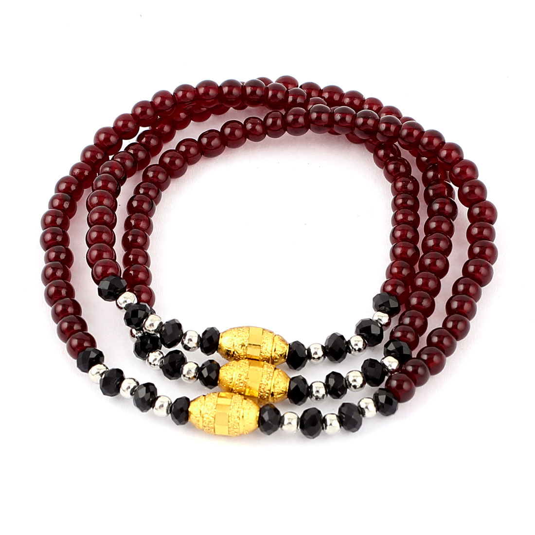 Women Facted Round Plastic Beads Decor Linked Bracelet Bangle Carmine