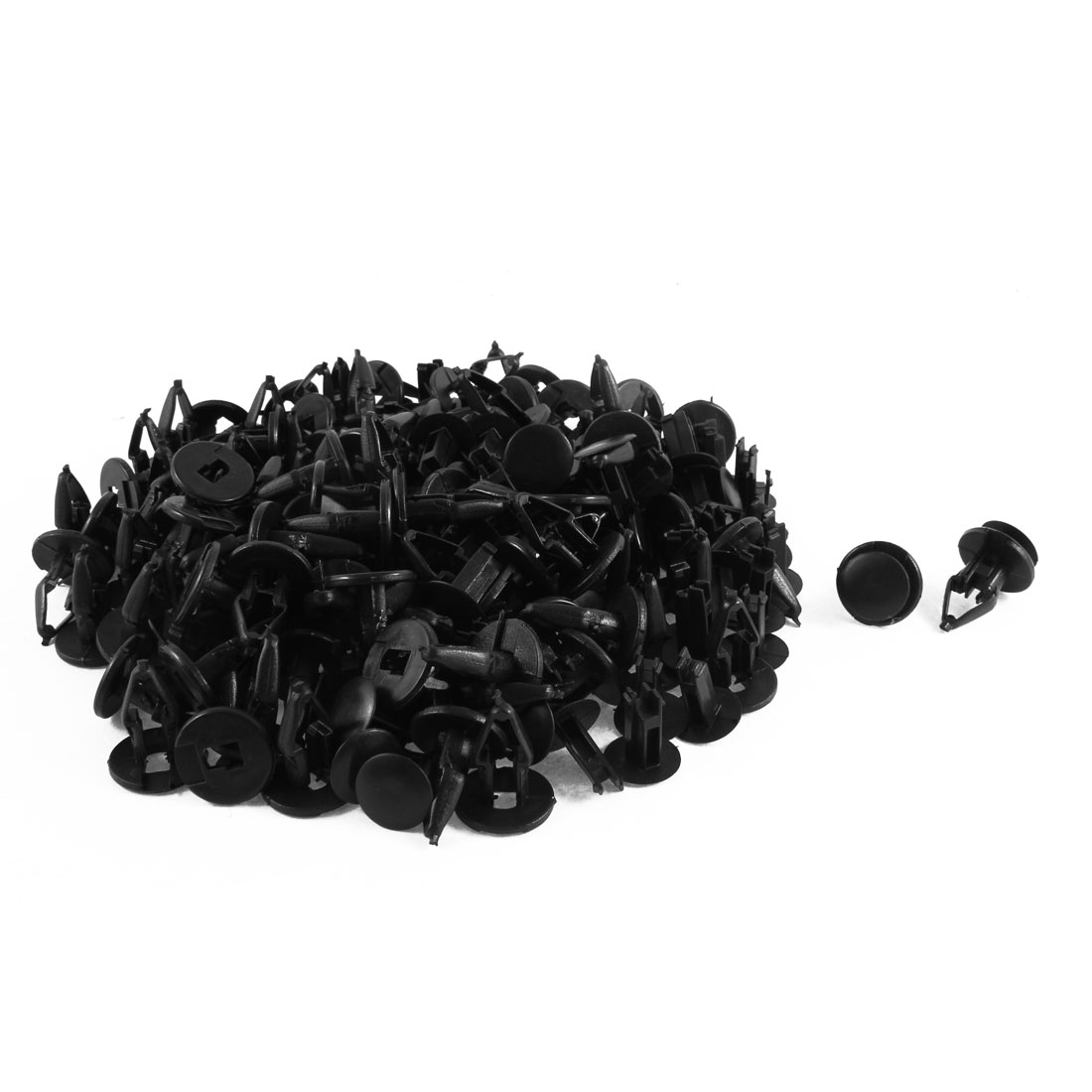 100 Pcs Black Plastic Splash Guard Moulding Bumper Clips 12mm x 19mm x 23mm