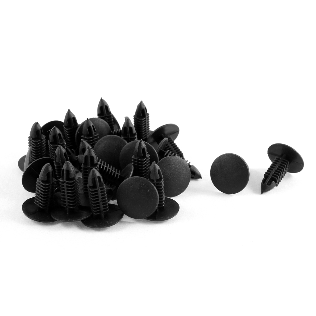 30 Pcs Black Plastic Splash Guard Moulding Bumper Clips 6mm x 17mm x 20mm