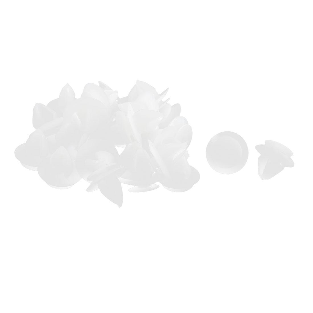 30 Pcs White Plastic Splash Guard Bumper Mat Clips 11mm x 12mm x 18mm
