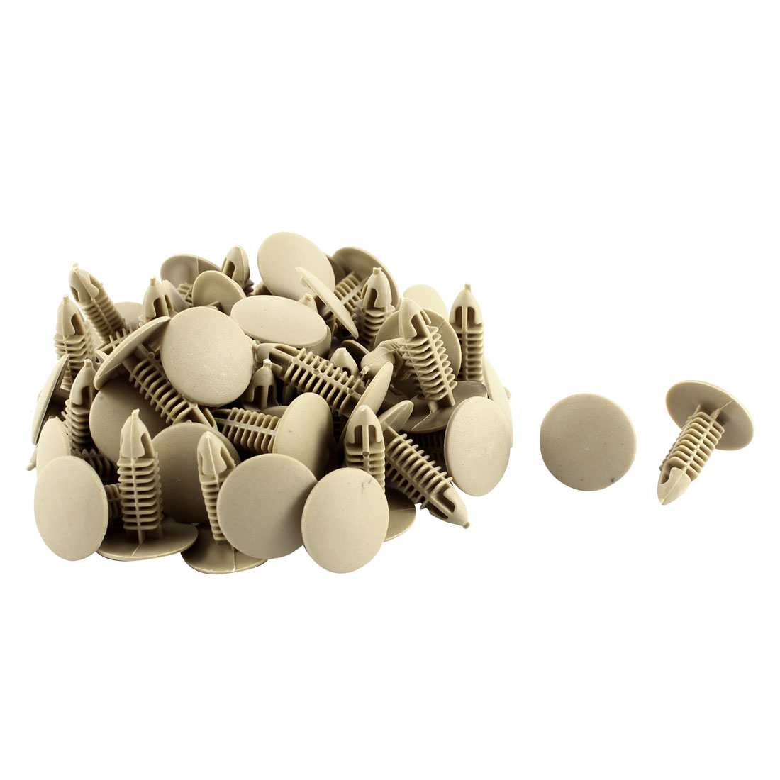 50 Pcs Khaki Plastic Splash Guard Moulding Mat Clips 6mm x 17mm x 21mm