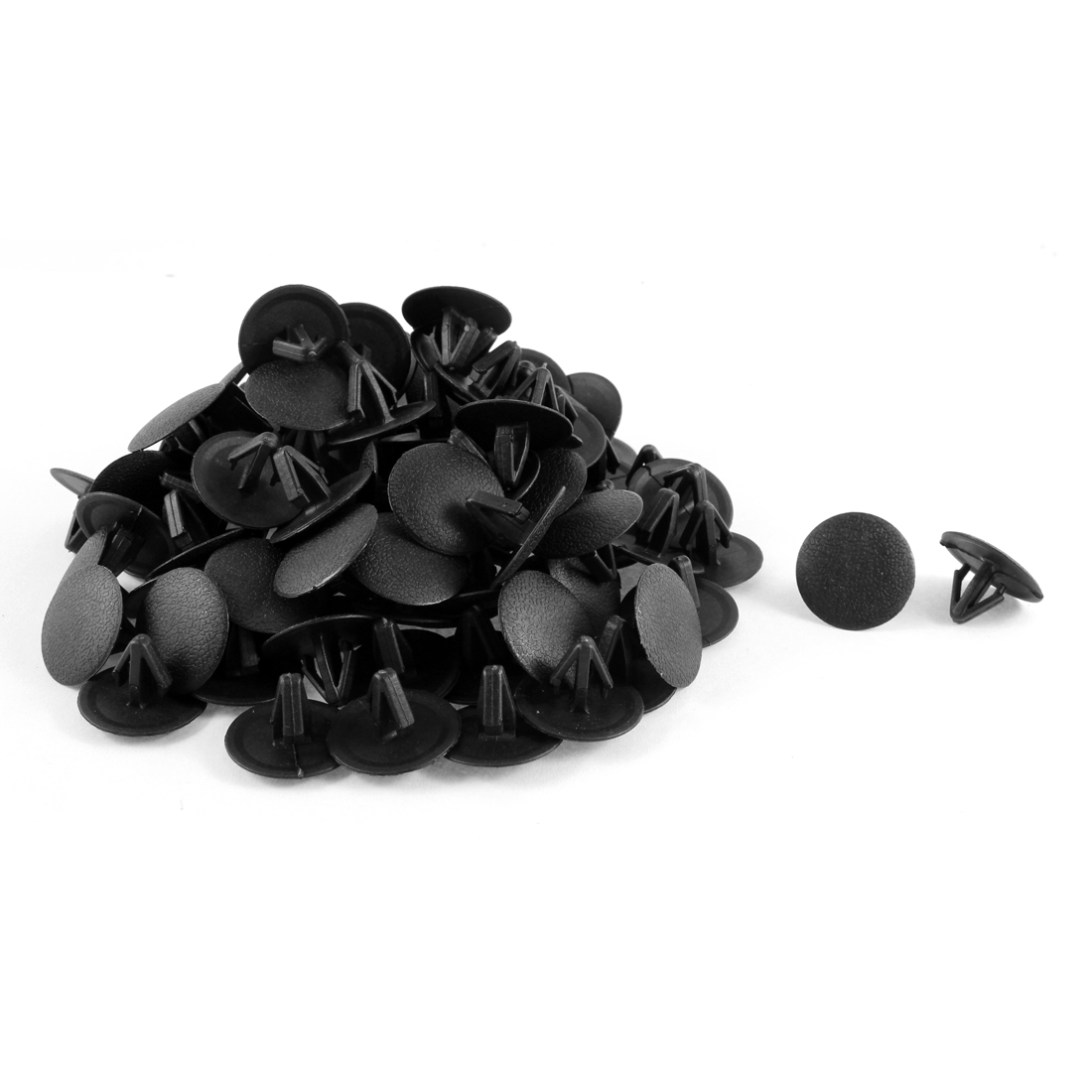 100 Pcs Black Plastic Splash Guard Moulding Bumper Clips 12mm x 14mm x 25mm
