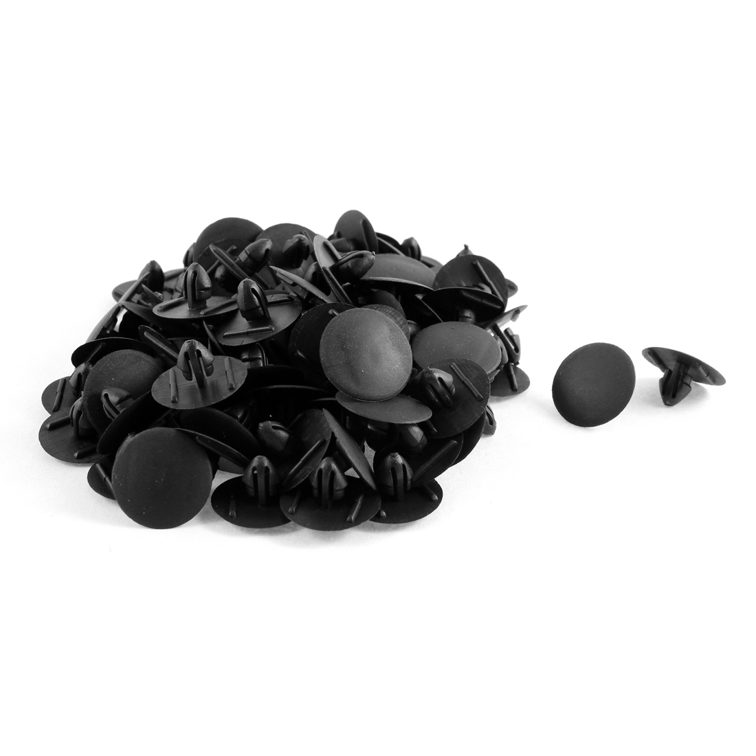 100 Pcs Black Plastic Splash Guard Moulding Bumper Clips 9mm x 11mm x 24mm