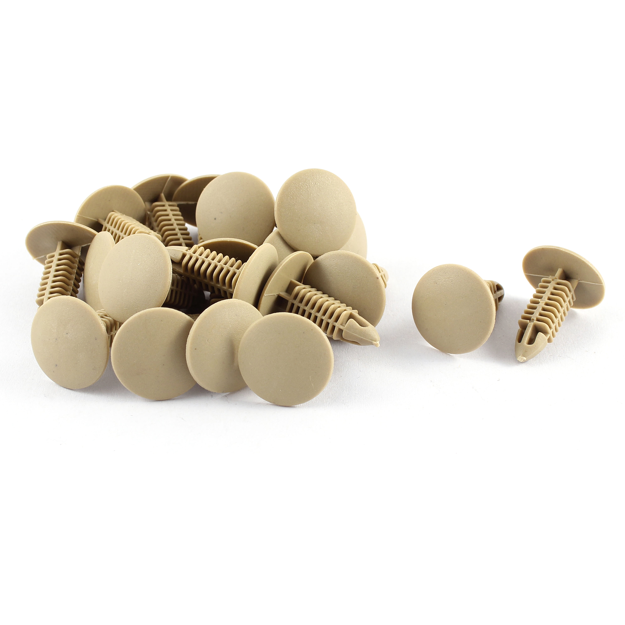 20 Pcs Khaki Plastic Splash Guard Moulding Mat Clips 6mm x 17mm x 21mm