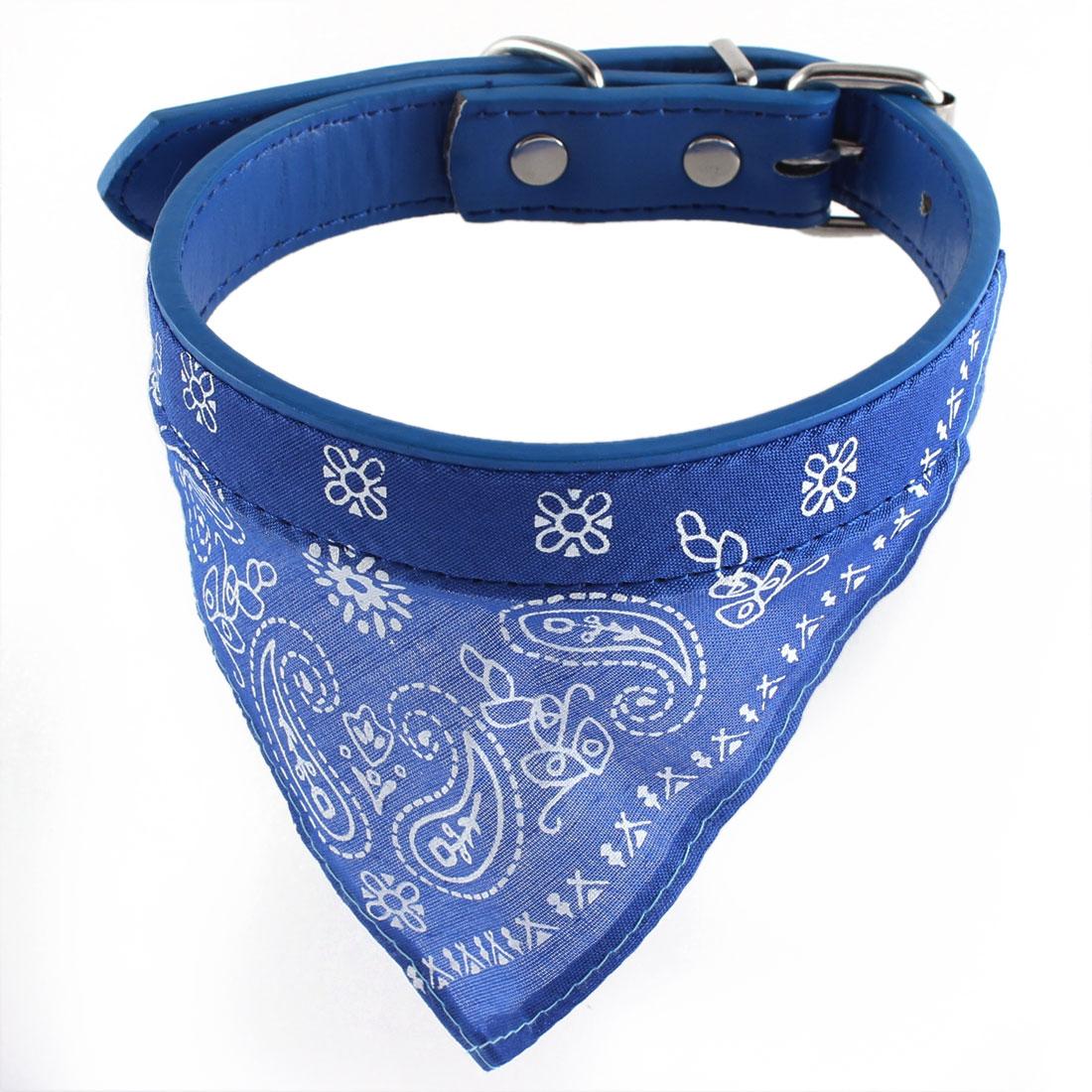 Blue Paisley Pattern Adjustable Belt Pet Scarf Bandana Collar 2.0cm