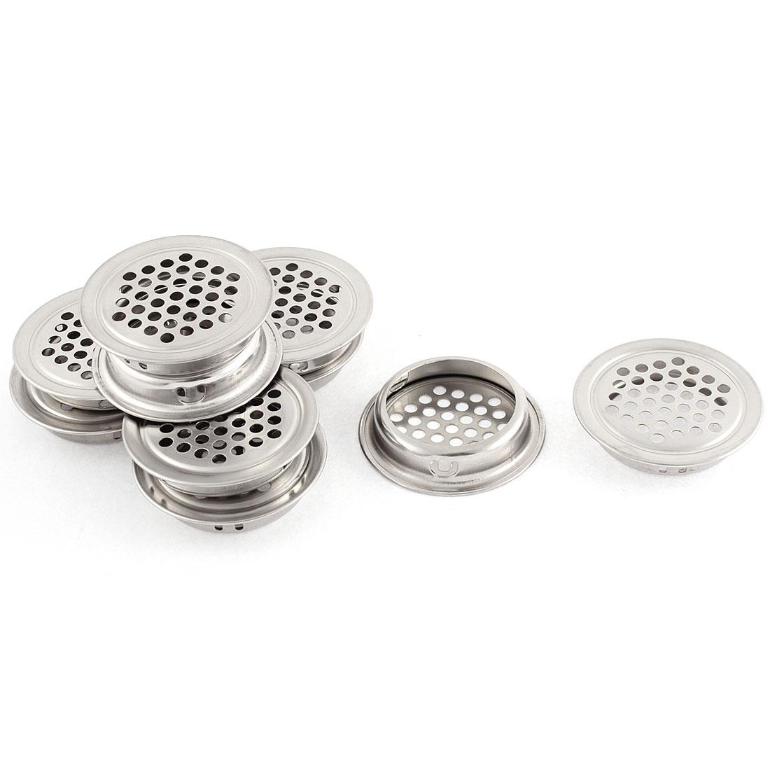 Silver Tone Round Mesh Hole Air Vents Louvers 10 PCS