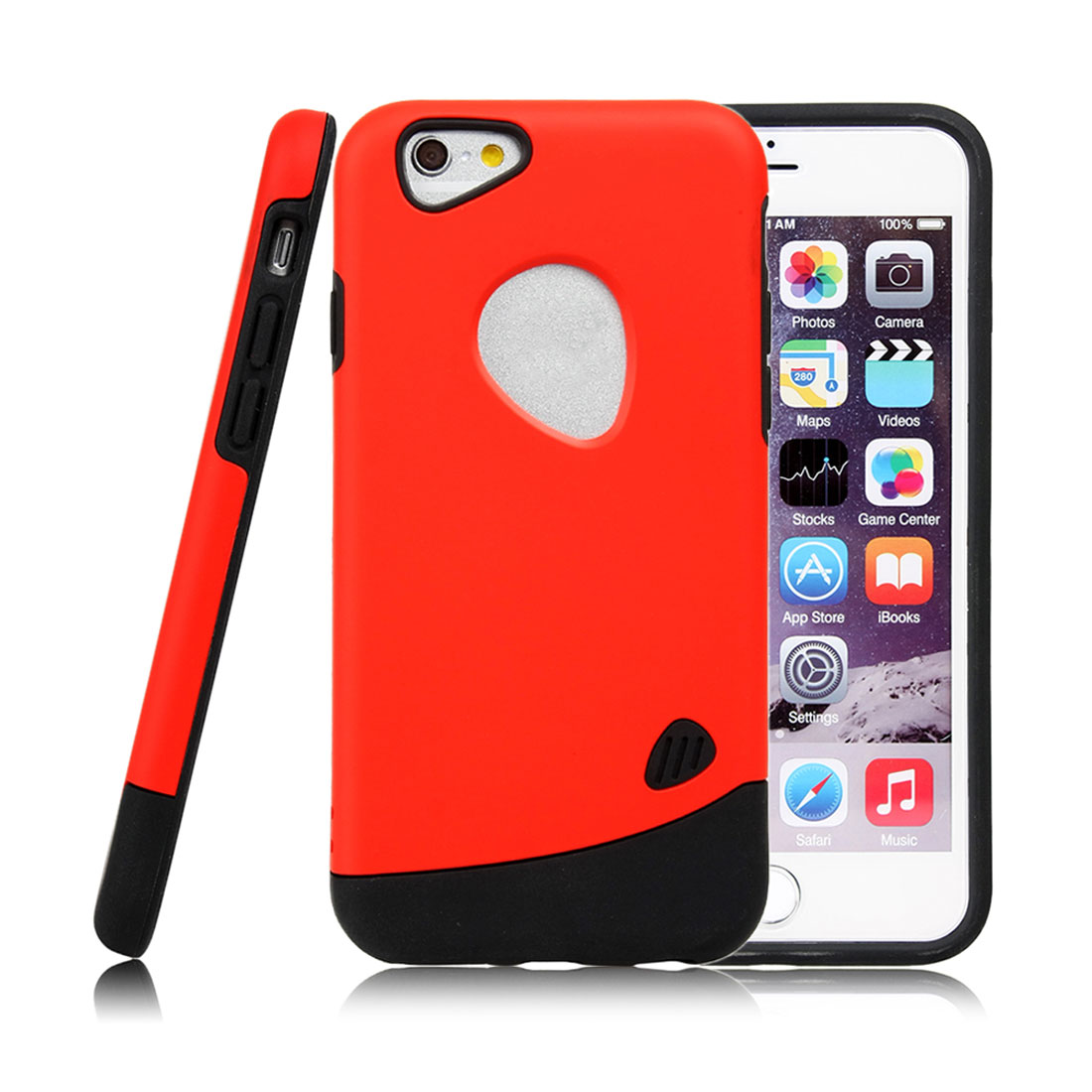 for Iphone 6 Case Combo Hybrid Shockproof Hard Cover Red