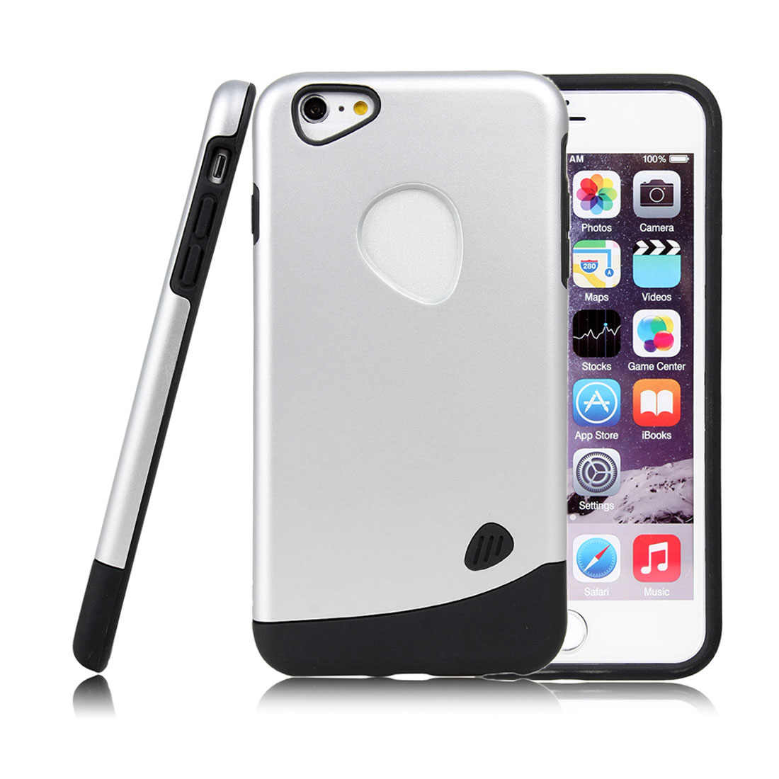 for Iphone 6 Plus Case Combo Hybrid Shockproof Hard Cover Silver Tone