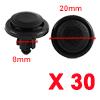 30 Pcs Black Plastic Splash Guard Moulding Bumper Clips 8mm x 13mm x 20mm