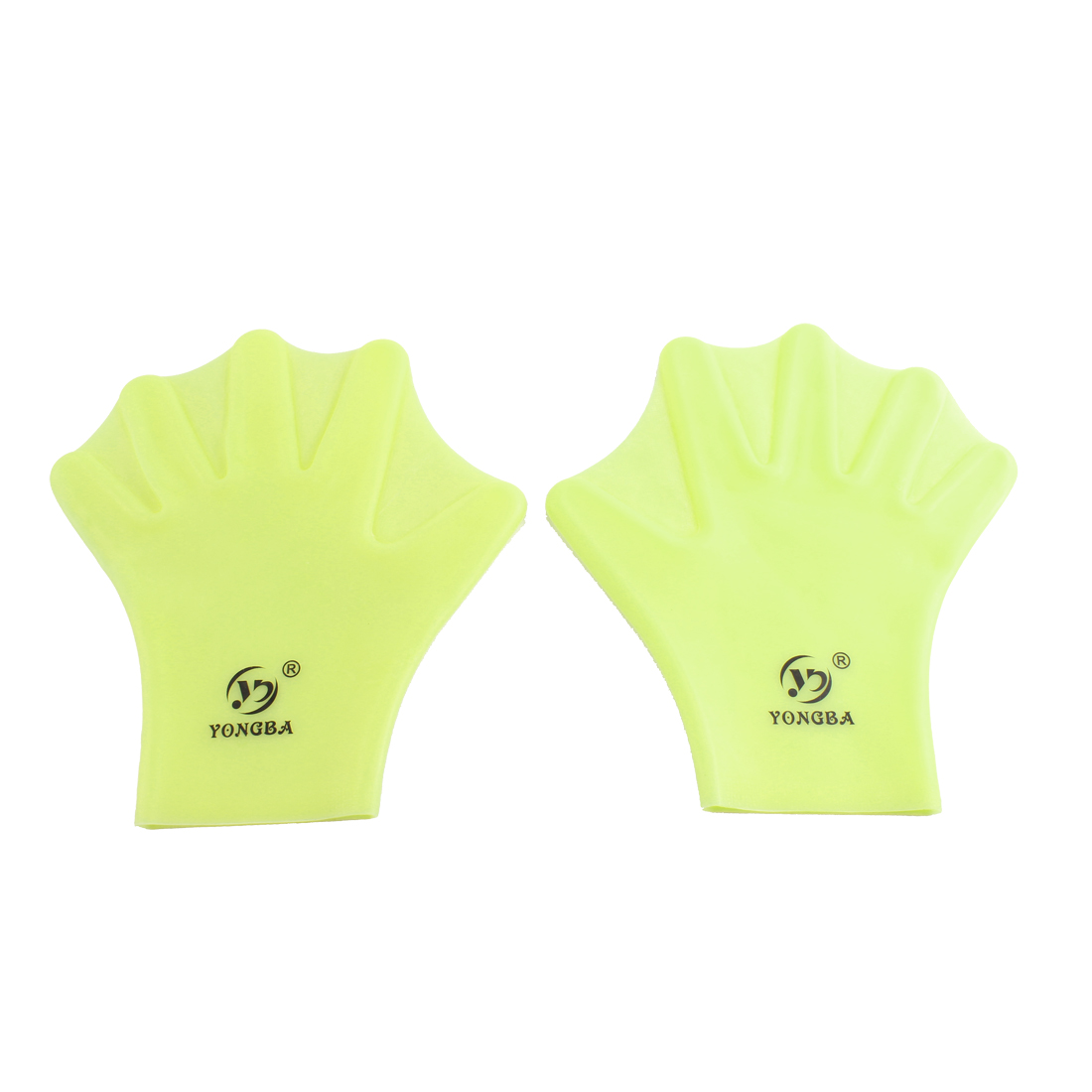 Silicone Swim Training Aid Swimming Hand Webbed Paddles Gloves Lemon Yellow Pair