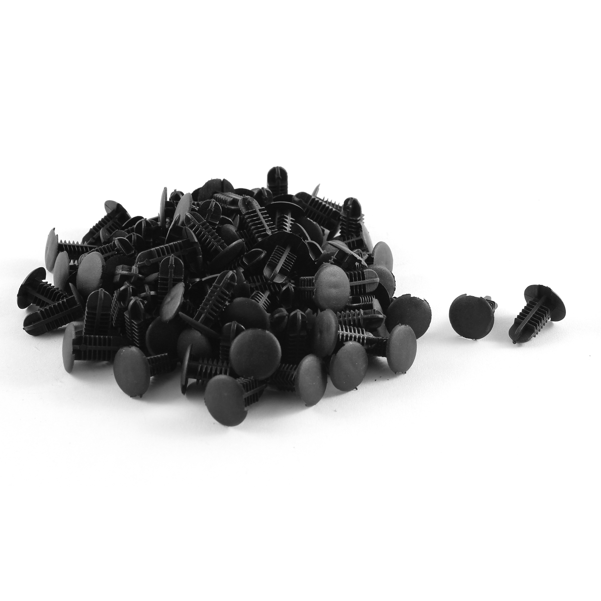 90 Pcs 6mm Hole 11mm Head Universal Fir Tree Plastic Clip Black