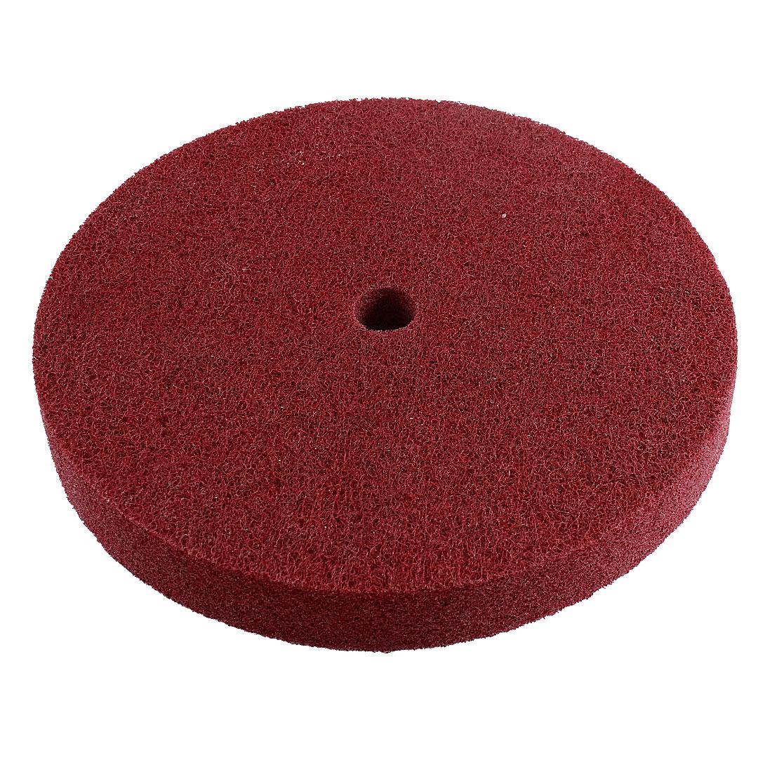 18 Hole Dia 180 Grit Nylon Fiber Wheel Abrasive Polishing Buffing Dark Red